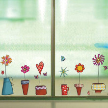 Cute Flower Wall Sticker Kitchen Window Glass Sticker Butterfies Wall Stickers Bathroom Glass Vinyl Wall Decal Kids Rooms Decor(China)