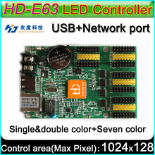HD -E63 LED display controller, Single&double color P10 LED sign Control card,U-Disk and LAN Cable to edit and updated programs(China)