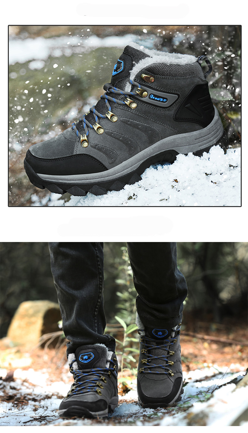 Luxury Men Boots Men Winter Snow Boots Warm Fur&plush Lace Up High Top Work Men Designer Driving Sneakers Male Winter Boots 14