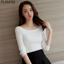 PLAMTEE 2017 Autumn Winter Fashion Women Sweater Top Scoop Neck Solid Tight Cashmere Sweater Lady Knitted 5 Colors Pullovers