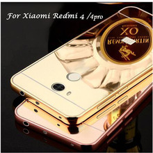 Mirror Back Cover Case For Xiaomi Redmi 4 Pro / 4A & Aluminum Metal Frame Set Hot Phone Bag Cases For Xiomi Redmi 4 Pro Prime(China)