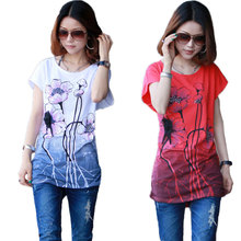 2017 Lotus Print Plus Size T Shirt Women Tops tshirt Short Sleeve Chinese ink painting style Summer Style Casual T Shirt female(China)
