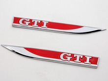 2PCS Car decoration new vw golf 7 / GTI/R design high quality metal logo/leaf blade door edge Bright color plating 3M stickers(China)