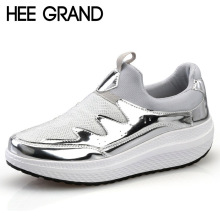 HEE GRAND 2017 Comfort Creepers Bling Loafers Silver Platform Shoes Woman Slip On Casual Women Flats Shoes 3 Colors XWD5547