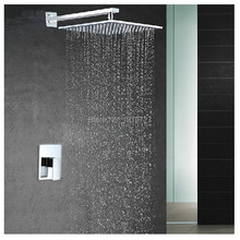 Factory Direct Modern Square Style Water Saving 10 Inch Shower Head Bathroom System Pressure Balance Wall Mounted Shower Set