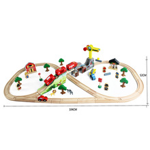 70pcs/lot Kids Educational Vehicle Toys DIY Wooden Tomas Railway Train Track With Electric Train Head