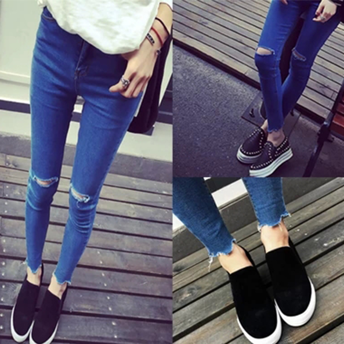 New arrival Womens fashion casual high waist knee hole ripped skinny jeans dark blue pencil pantsОдежда и ак�е��уары<br><br><br>Aliexpress