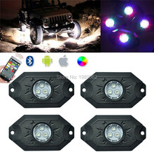 1set X dahosun RGB LED Rock Light Kits Neon Lights Bluetooth Control & Cell Phone Control Under Cars Off Road Truck SUV ATV