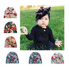 New Round Adjustable Accessories Baby girl Hat Used in 4 Seasons 5 Pattern QMilch Cap Bohemia Bow Knot Cap Newborn Baby Cap