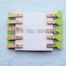 600 Pieces Green Heart Miniature Wooden Pegs Paperclips for Home Wedding Decor|Gift wrapping Packaging | any Craft projects 1247