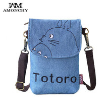 2017 Summer Denim Women Messenger Bags Canvas Cartoon Lady Shoulder Crossbody Bag Kitty Baymax Jean Mini Cell Phone Bag For Girl(China)