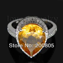 Vintage Pear 10x12mm 14kt White Gold Diamond Yellow Citrine Ring SR0010(China)