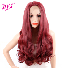 Deyngs Long Body Wave Red Synthetic Lace Front Wigs With Natural Hairline Synthetic Full Wigs Hairstyle African American Women(China)