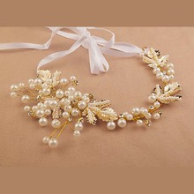 Trendy Bridal crystal Pearl Flower Headbands for Women Handmade Tiara Headdress Gold&Silver Wedding Hair Jewelry Accessories