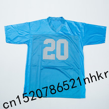 Retro star 20# Barry Sanders Embroidered Name&Number Throwback Football Jersey Blue(China)