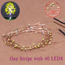 evemodel  DD85W1540 2 Strips 40-LED  Pre-soldered micro  Copper Wired WHITE SMD LED 0805 model train 1/35 railway modeling