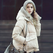 Super Deal 2016 Winter Warm Coat Fashion Parkas Women Short Slim Thicken Outrewear Hooded White Duck  Jacket