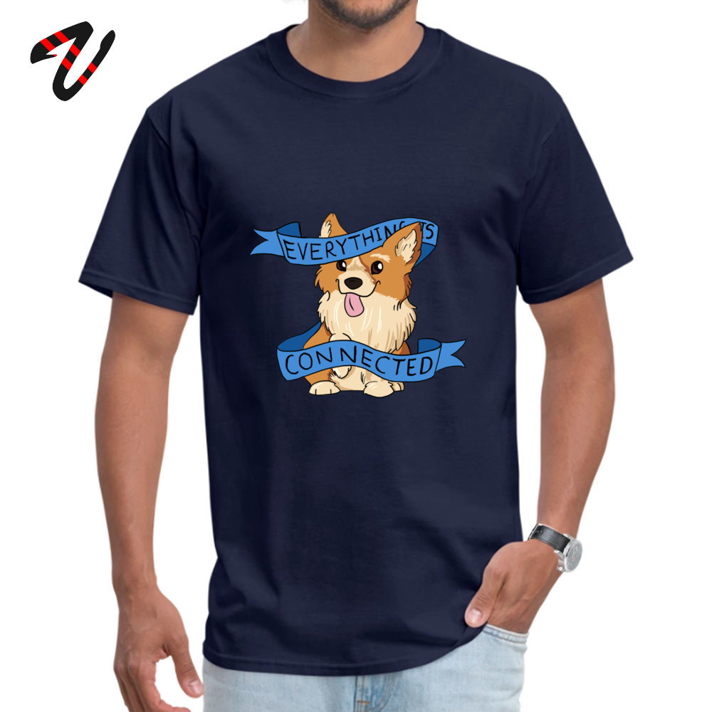 Oversized Everything is Connected Corgi Top T-shirts Fall Round Collar 100% Cotton Tops Shirts for Men Tee Shirts Casual Everything is Connected Corgi 11572 navy