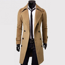 Men Trench Coat - HOT SALE Windbreaker Men's Slim Casual Jacket Double-breasted Long Coat #1726402(China)