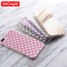 SoCouple Luxury Shining Bling Love Heart Phone Case TPU+PC Glitter Case for iphone 7 8 6 6s 6/7/8 Plus 5 5s SE IMD Back Cover(China)