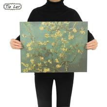 TIE LER Apricot Flowers Open the Masters of Impression Retro Kraft Paper Adornment Poster Starry Night Cafe Wall Sticker 47X36cm(China)