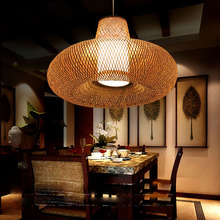 Personality bamboo Pendant Lights classical hotel project lighting sheepskin lamp round bamboo garden restaurant LU728302