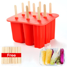 9 Cells 3 types Childhood Silicone Ice Cream Cube With Cover Tray Popsicle Molds Ice Cream Maker Kitchen Tools
