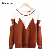 Winter Fashion Patchwork Women Sweater Pullovers Elegant O-neck Warm Ladies Tops Female Cute Batwing Sleeve Sweaters YN2486(China)