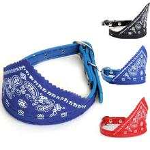 1.0cm Dog Pet Bandana Triangular Scarf Leather Collar Paisley Pattern Puppy Strap Adjustable Grooming