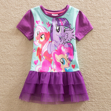 2016 Neat retail New BABY Girls Clothes short Sleeve lace Kids dresses My little pony dress children clothing summer dress LU3