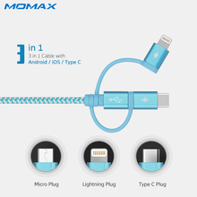 Momax 3 in 1 Type C Data Lightning USB MFi Certified Cables for Samsung Android Braided Charging Cable for iPhone 6 7 8 Plus 1m(China)