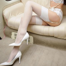Women wide rib top cuff sexy stockings transparent silk stocking ladies thigh high stockings medias