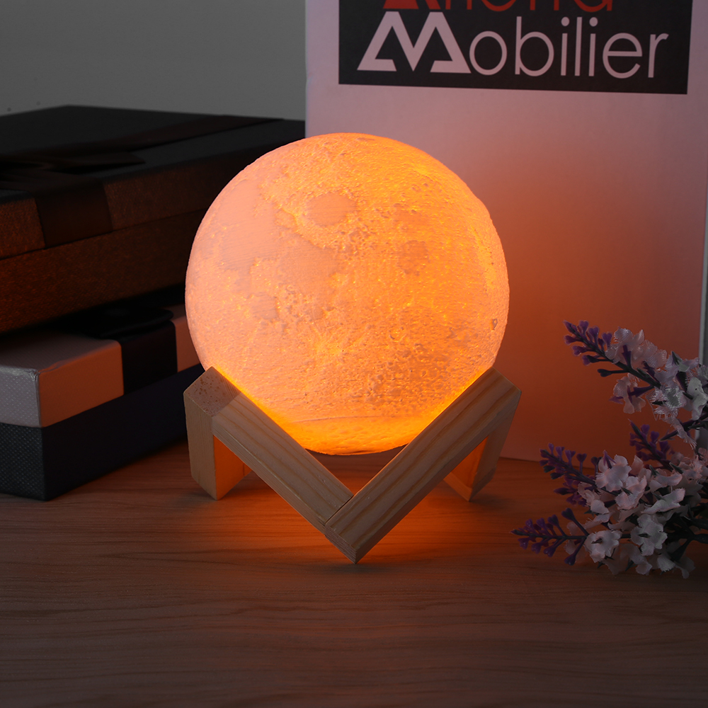 Rechargeable LED Night Light Moon Lamp 3D Print Moonlight Luna Bedroom Home Decor 2 Colors Touch Switch New Year Gift for Baby 10