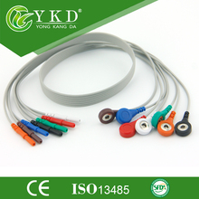 Holter cable 7 lead DIN 1.5 style ECG leadwire set snap,AHA(China)