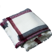 Plaid Blanket Scarf Cashmere Feel Scarves Shawls Womens Scarfs Fashionable Pashmina Poncho Giant Check Scarf For Women 200x100(China)
