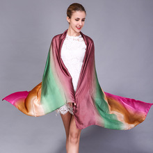 Scarf women satin Imitation silk scarf gradient color decorative beach towel sun shawl manufacturers selling bandana SFTD12(China)