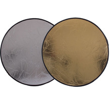 2 in 1 60CM 23 inch Round Flash Studio Collapsible Refletor Light Disc Silver Gold Riflettore Wholesale Reflector(China)