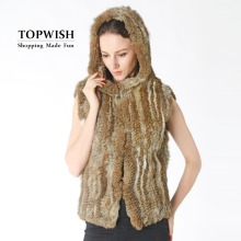 2017 New Real Knitted Rabbit Fur Vest with Hood Hot Short Female Fur Gilet Factory Top Wholesale Retail Waistcoat TNT785