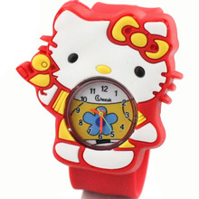 Hello Kitty cartoon fashion Clock multi color KT cat children boys girls clap quartz watch wholesale manufacturers