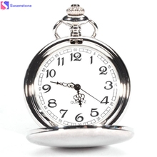 40cm chain Fashion trends Smooth Stainless Steel Case Pendant Necklace Pocket Watch Arabic Numbers Modern Pocket Necklace #45