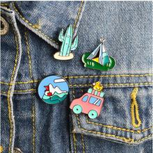 Fashion brooch Bus hill plane cloud camping series Design Metal Brooch Pins Gift for girls woman Wholesale(China)