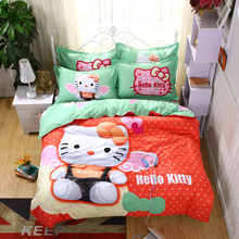Home textiles bedclothes Heart shaped Hello Kitty child bedding sets include duvet cover bed sheet pillowcase(China)