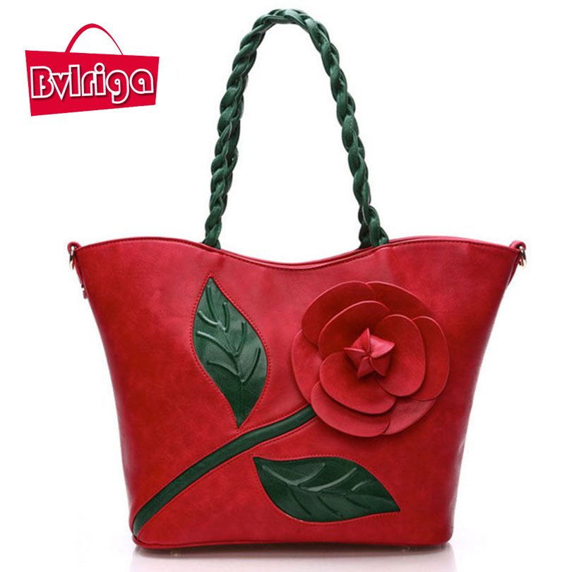 BVLRIGA Shoulder bag women messenger bags Weave rose flowers totes bag Chinese style Retro women leather handbags bolsos fashion<br>
