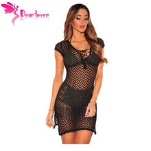 Dear Lover Beach Dress woman Bathing Vestido de Curto Summer Sexy Black V Neck Lace up Mesh Boho Mini Clothes Robe Femme LC42090(China)