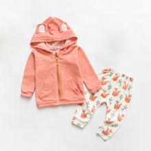 2Pcs Toddler Baby Outfit Cartoon Fox Baby Boy Girl Clothes Spring Autumn 2017 New Infant Girl Clothing Set Hooded Coat+pants F1(China)