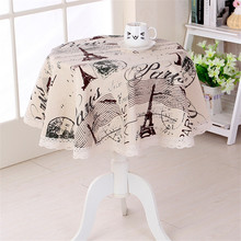 Machine Washable Europe Style tablecloths Eiffel Tower Design Round Table Cover Manteles Para Mesa Coffee Table Decoration Cover