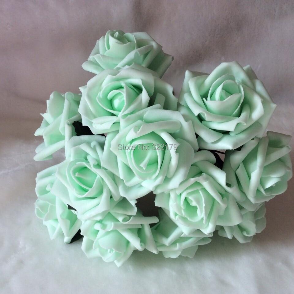 Aliexpress buy mint rose flowers artificial foam roses 72pcs 72pcs free shipping mint green artificial flowers bridal bouquet wedding decorative flowers home decor mint wedding izmirmasajfo