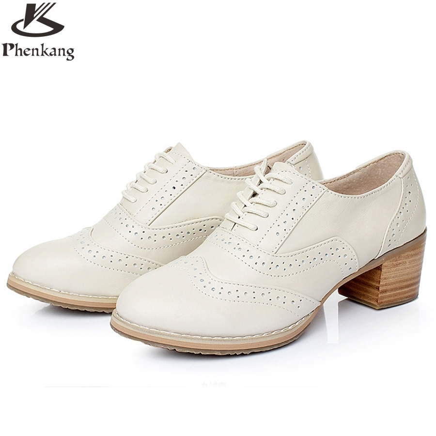 Genuine leather shoes women US size 9.5 black white grey beige handmade 2017 vintage British style oxford shoes for women fur<br><br>Aliexpress