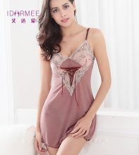 IDARMEE S6473 Four Color Embroidery Lace Women Dress Lady Transparent Nightwear Patchwork Sleepwear Nightgowns Sexy Lingerie