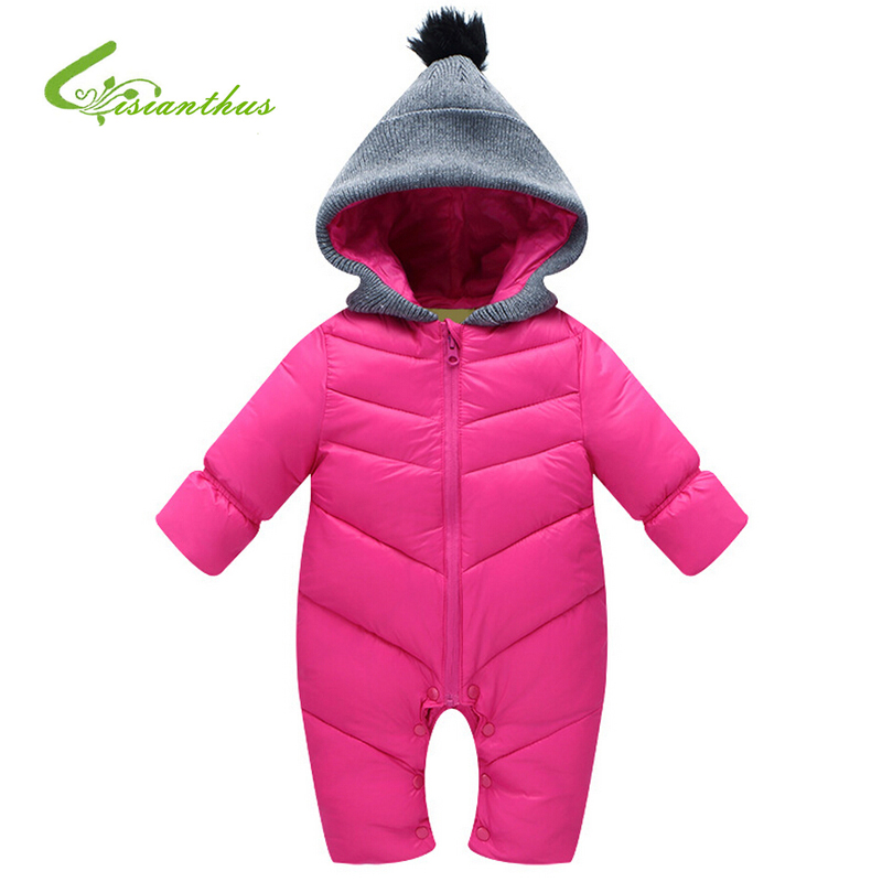 Baby Rompers Winter Thick Cotton Boys Costume Girls Warm Clothes Kid Jumpsuit Children Hooded Wadded Coats Outerwear Baby Wear<br><br>Aliexpress